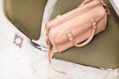 Saint Laurent classic baby duffle bag in blush.