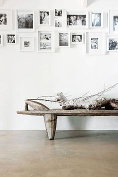 = rustic bench and art wall