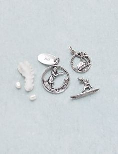 3 Vintage Hawaii Charm Lot - 925 sterling silver Kona hula dancer, palm tree, surfer, tropical island paradise charms or pendants by CuriosityCabinet on Etsy