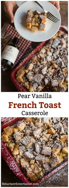 Pear Vanilla French Toast Casserole - All About Events Second Breakfast, Sweet Breakfast, Breakfast Recipes, Breakfast Bites, Vanilla French Toast, Muffins, French Toast Casserole, Breakfast Casserole, Vegetable Soup Recipes