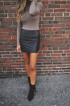 Black Faux Leather Mini Skirt - Dottie Couture Boutique