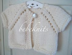 Hand Knit Soft  Ivory 12 to 18 Month Baby Cardigan