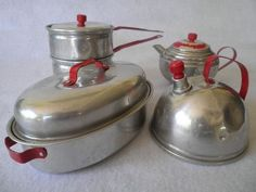 Children's 1940's Tin Toy Pans and Kettle