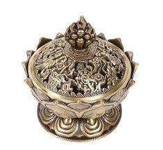 Incensário e porta incenso em metal ouro velho