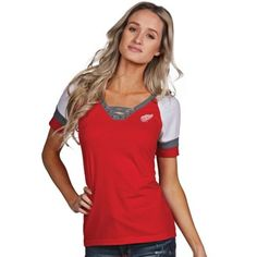 Detroit Red Wings Antigua Women's Supersonic Lace-Up T-Shirt - Red ...