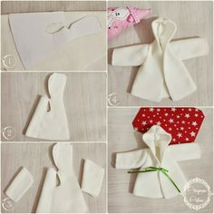 Oyuncak bebeklere mont dikimi aşamaları See other ideas and pictures from the category menu…. Barbie Clothes Patterns, Sewing Doll Clothes, Doll Dress Patterns, Sewing Dolls, Dress Clothes, Doll Crafts, Diy Doll, Baby Dress Pattern Free, Free Pattern