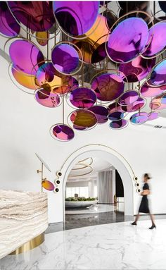 Ceiling Detail, Ceiling Design, Lamp Design, Stage Design, Event Design, Pink Hotel, Reception Counter, Glass Wall Art, Light Architecture