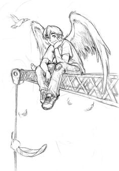 angel on crane - sketch by sexyblue.deviantart.com on @deviantART