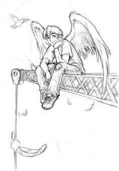 angel on crane - sketch by sexyblue.deviantart.com on @deviantART