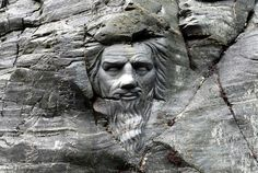 Carving beside Merlin's Cave, Tintagel, Cornwall