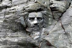 Carving beside Merlin's Cave, Tintagel, Cornwall
