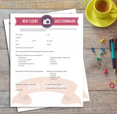 Instant Download | New Client Photography Questionnaire | Printable
