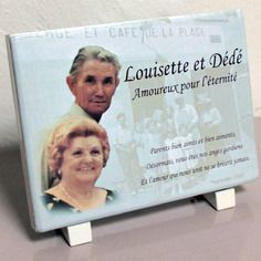 Plaque funéraire en pierre émaillée personnalisée avec photos