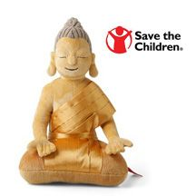 """Buddha plush toy will inspire peace, joy and love. Your purchase supports Save the Children. Soft doll is 11"""" high."""