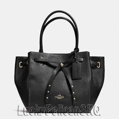 COACH 35838 TURNLOCK TIE SMALL TOTE SATCHEL PEBBLE LEATHER Gold/Black/Black NWT #Coach #TotesShoppers