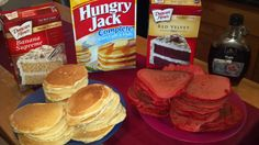 Take an ordinary box of Complete pancake mix and add some extra flavor with boxed cake mix. We made Banana and Red Velvet pancakes using 3/4 pancake mix and 1/4 cake mix. Extremely easy and tasty.