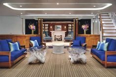 Here's one of the photos of a 281-Foot, Megayacht selling for a mere 215 Million. Yes that's a fireplace