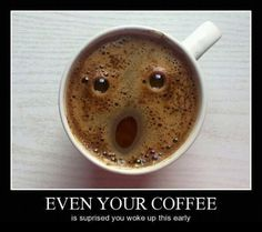 This is definitely how my coffee greeted me this morning.