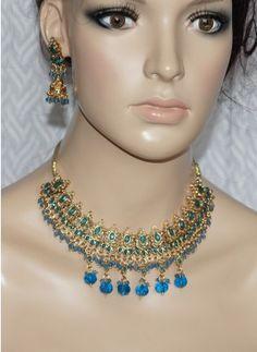 Blue polki stone necklace set
