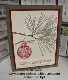 Stampin' Up!- A beautiful Christmas card using 'Ornamental Pines'!