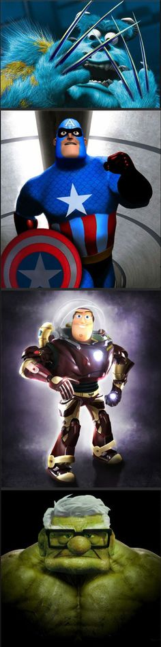 Funny pictures about Pixar-Marvel Mashups. Oh, and cool pics about Pixar-Marvel Mashups. Also, Pixar-Marvel Mashups photos. Disney Pixar, Disney And Dreamworks, Disney Characters, Disney Marvel, Marvel Characters, Marvel Images, Funny Celebrity Pics, Celebrity Pictures, Disney Love