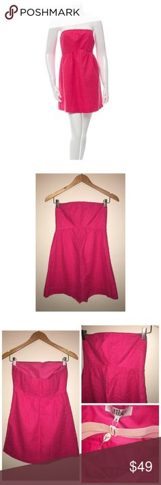 NEW Tibi Sleeveless Romper NEW Pink Tibi sleeveless romper with eyelet overlay, gathering at bust and concealed zip closure at side. Has snap button closure on the shorts. Size 2. Made of 100% Linen. Never worn Tibi Dresses Strapless