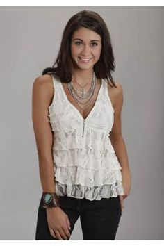 Stretch Lace Tank Stetson Ladies Collection- Spring Iii Sleeveless Urban Western Wear