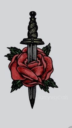 Aghhhh it's a rose and dagger Cute Drawings, Tattoo Drawings, Body Art Tattoos, Tatoos, Bauch Tattoos, Common Tattoos, Tattoo Convention, Tattoo Zeichnungen, Cute Wallpapers