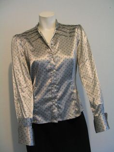 MEXX Women's Silky Satin Blouse Top Shirt  Gray with Red Polka Dots  Size 10