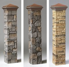 Decorative Stone Post Covers by Deckorators Transform your deck posts into stately pillars with our elegant, hand-painted outdoor stone post covers by Deckorators. Quick and easy installation. Cool Deck, Diy Deck, Gate Design, Deck Design, Laying Decking, Deck Posts, Outdoor Stone, Stone Deck, Slate Stone