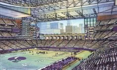 """A glance at the Vikings' """"Downtown East Stadium"""" conceptual images. Minnesota Vikings Stadium, New Nfl Stadiums, Minneapolis City, Victorious, City Photo, Tours, Sports, Life, Sport"""