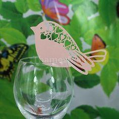 50 un. Corte Láser De Lujo Cristal Rosa Zumbido Pájaro Decoración pearlscent tarjetas de lugar
