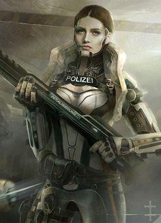 Concept Art by Eve Ventrue, Sci fi, woman warrior