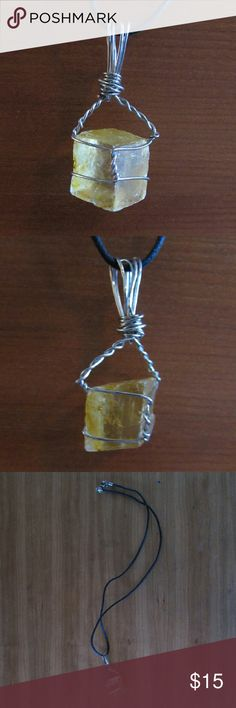 Cube Shaped Yellow Quartz Necklace $$OBO$$ Pendant is 2 inches long, chain is 22 inches long  CLOSET CLEAR OUT! Taking all offers made using the button, I also give great deals on bundles, just ask! Note: I do not take offers $5 or less. Also I do not trade. Handmade  Jewelry Necklaces