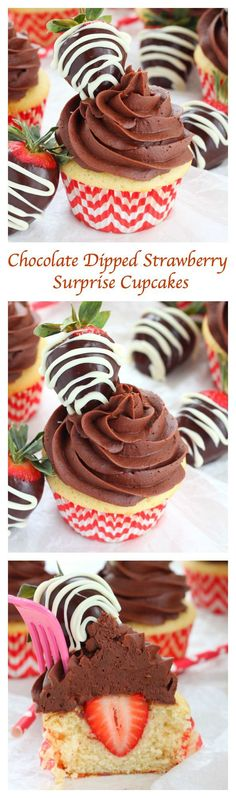 Chocolate and strawberry are a match made in heaven and these delicious, colorful, pretty-looking chocolate dipped strawberry surprise cupcakes are the perfect dessert to satisfy your sweet tooth's cravings!