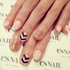 Black chevron, gold, nude nails