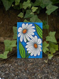 White Daisies ACEO Original Art Card