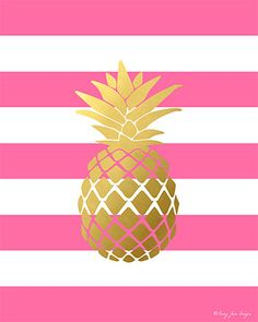 Pineapple Print Gold and Pink Pineapple Print by PennyJaneDesign
