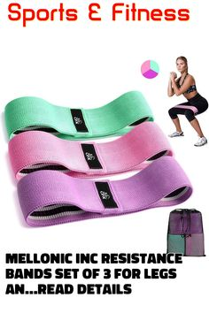 MELLONIC INC Resistance Bands Set of 3 for Legs and Butt Workout Fabric Band Gym Exercise Equipment Fitness Yoga Sports Non-Slip Stretch Leg Bands for Working Out for Women and Men Gym Exercise Equipment, Exercise Bands, Resistance Bands, Butt Workout, Pool Slides, Yoga Fitness, Legs, Fabric, Sports