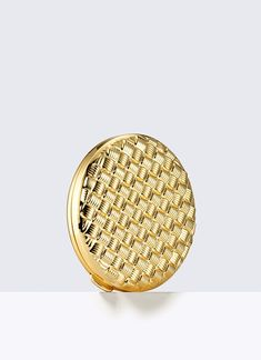 "Golden Weave, Powder Compact - A wonderful gift, this refillable compact arrives beautifully boxed, with a velvety pouch. Approx. dimensions: 2"" diameter and .5"" thick."