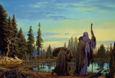 Ted Nasmith. 'Worm! Worm!' Saruman called; and out of a nearby hut came Wormtongue, crawling, almost like a dog. 'To the road again, Worm!' said Saruman. 'These fine fellows and lordlings are turning us adrift again. Come along!'