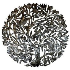 Tree of Life with Buds 24-inch Metal Wall Art Handmade and Fair Trade. This intricate wall piece made from recycled oil drums in Croix des Bouquets, Haiti, features a traditional Tree of Life design handcrafted by Carlo Brutus. 24 inch diameter with a natural patina with high gloss finish. Suitable for indoor or outdoor hanging. Unique Design Abstract Vintage Fall Garden Metal Artwork Sculpture Ideas | Modern Large Living Room Bedroom Outdoor Rustic Metal Art Decor