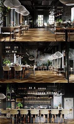 "Restaurant # ""One"" # – # Galerie # - Moderne Inneneinrichtung Modern Restaurant, Cafe Restaurant, Cafe Bar, Luxury Restaurant, Design Café, Bar Interior Design, Restaurant Interior Design, Patio Design, Sign Design"