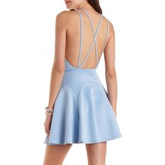 Charlotte Russe Sky Blue Strappy Racer Front Skater Dress by Charlotte... ($11) ❤ liked on Polyvore