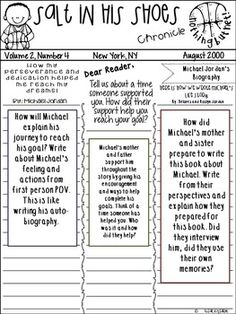 Salt in his Shoes : Newspaper Creative Writing Activity& Growth Mindset 5th Grade Ela, Classroom Organization, Classroom Ideas, Learning Time, Educational Games, School Counseling, Writing Activities, Growth Mindset, Social Skills