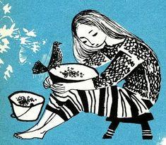 Vintage children's book illustration - Black & White with single color