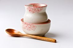 Creamer and Sugar Set with Red Flowers Handmade by RossLab on Etsy, $36.00