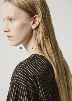 Thread-through earrings with a small single disc pendant. One disc is made of brown calf leather, the other is made of brass. Chain Earrings, Silver Earrings, Jewelry Accessories, Jewelry Design, Marimekko, Designer Collection, Calf Leather, Style Inspiration, Pendant