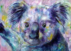 Koala Bear, Art Print of Acrylic Painting. $25.00, via Etsy.