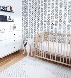 boho nursery in grey